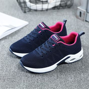 2018 Summer Sneakers For Women Breathable Mesh Running Shoes Damping Sport Shoes Woman Outdoor Jogging Blue Walking Shoes A22