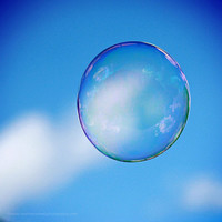 Single Floating Bubble Bright Clear Blue Sky by HConwayPhotography