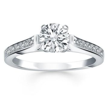 14K White Gold Pave Diamond Cathedral Engagement Ring, size 6.5