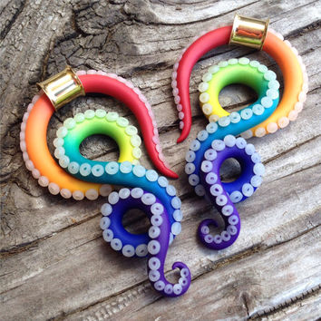 Rainbow Cephalopod for Thin Walled Eyelets - Earrings for Stretched Lobes - Gauges