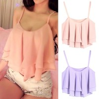 LookbookStore Summer Fashion Colorful Ruffled Layers Camisole Women's Crop Top