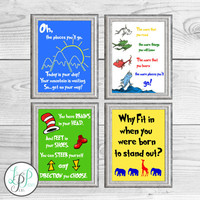 Dr. Seuss Decor, Dr. Seuss Prints, Dr. Seuss Quotes, Daycare Decor, Playroom Decor, Book Theme Nursery, Dr. Seuss Nursery Decor, Seuss