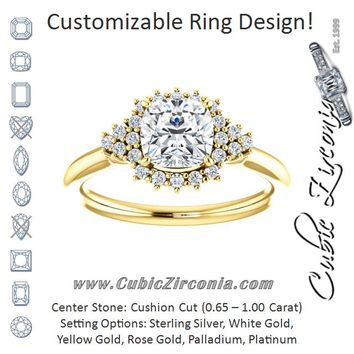 Cubic Zirconia Engagement Ring- The Winter (Customizable Cushion Cut Cathedral-Halo Design with Tri-Cluster Round Accents)