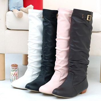 Soft Leather Buckle Tall Boots Low Heels for Women 3953