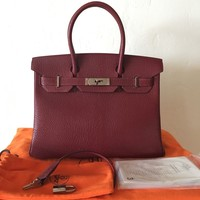 Authentic Hermes Birkin 30 Chevre Rouge H Palladium Hardware