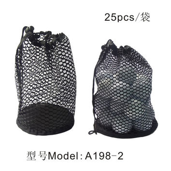 Nylon Mesh Net Bag Pouch Table Tennis Black Portable Storage Drawing String Closure Golf Ball Holder 12/25/50 Balls accessories