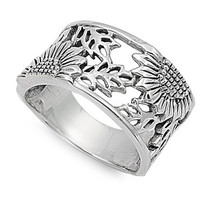 925 Sterling Silver Sunflower Filigree Ring 14MM