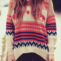 Retro vintage round neck sweater