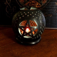Soapstone Globe Pentagram Candle Burner, Wicca, Pagan, Pentagram Candle Holder, Tea Light Holder, Altar Tool