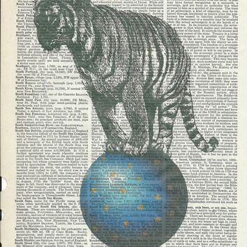 Book Print Mr.Tiger Standing on a Blue Ball on Vintage Upcycle Book Page Print Art Print Dictionary Print Collage Print