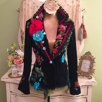 RESERVED For Someone Very Special ~~ Please Do Not Purchase ~~~ Tattered Embroidered, Shabby Hippie Jacket, 70s Style Cowgirl Jacket, Medium