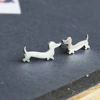 Dachshund Earrings Doxie Studs Wiener Dog Jewelry Daschund Studs Sausauge Dog Love