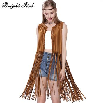 BRIGHT GIRL Women Fashion Coat Sleeveless Vests Feminino Outwear Casual Long Paragrap Tassels Suede Fringed Outerwear & Coats