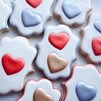 Red, Gold and Silver Heart Cookies perfect for Valentines Day - One Dozen Decorated Sugar Cookies