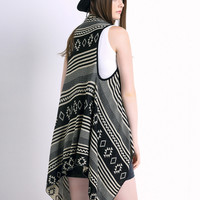 Black Geometric Sleeveless Waterfall Fall Fashion Cardigan