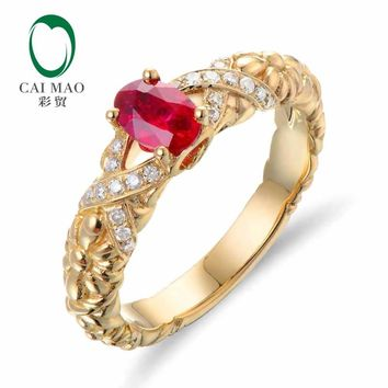 CaiMao 18KT/750 Yellow Gold 0.65 ct Natural Red Blood Ruby & 0.12 ct Full Cut Diamond Engagement Gemstone Ring Jewelry