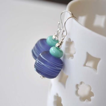 Ink Blue Earrings, Lampwork Earrings, Glass Bead Earrings, Drizzled Earrings, Artisan Glass Earrings