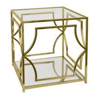 Benzara 40343 Chic Metal Glass End Table