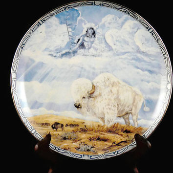 Vintage 1995, Limited Edition, Fourth Issue, Legend of the White Buffalo Series, Spirit Of The Buffalo Shaman, by Diana Elizabeth Stanley