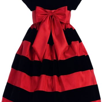 Black Velvet & Red Taffeta Striped Girls Holiday Dress 3m-10