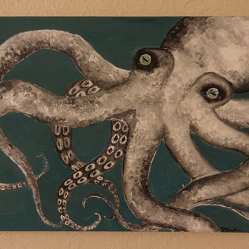 Vintage Octopus Acrylic Painting on Stretched Canvas, Vintage Art