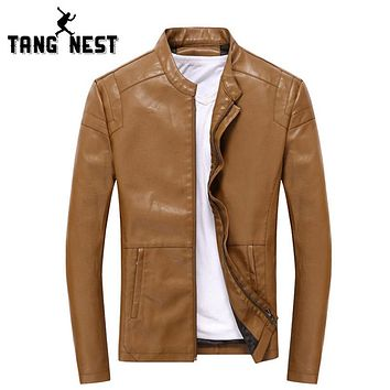 Leather Jacket Fashion Design Slim Men PU Leather Jackets Popular Jacket Men 5 Solid Colors
