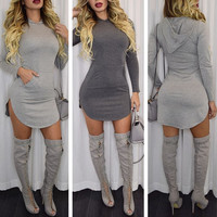 SEXY LIGHT GRAY HOODED DRESS