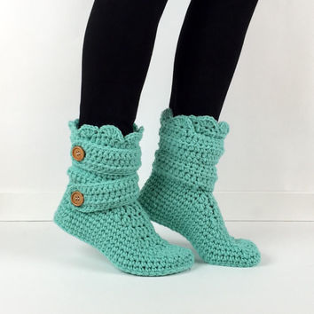 Women's Crochet Mint Slipper Boots, Crochet Slippers, Crochet Booties, Crochet House Shoes, Crochet Winter Boots, Blue Green Slipper Boots