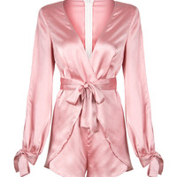 Pink Deep V-neck Bowknot Detail Wrap Front Romper