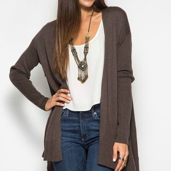 Ribbed Detail Sweater Cardigan - Mocha