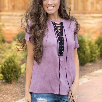 Laced-Up Lilac Top