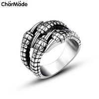 New Unique Men's Ring Vintage Gothic Jewelry Dragon Claw Ring Bold Stainless Steel Rings Male Anillos Punk Rock Accessories R727
