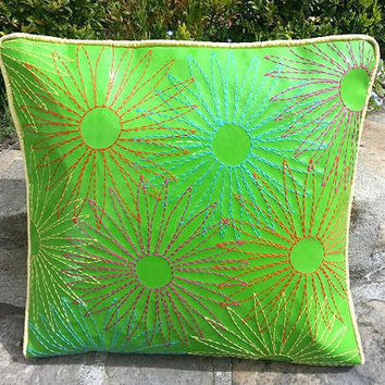 parrot green leather enbroidered throw pillow/cushion cover