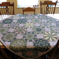 Kaleidoscope Quilted Couch Throw tablecloth lilacs silver olive green lavender cream peach