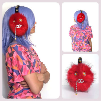 Red earmuffs/monster faux fur ear muffs/scream queens/scream queens earmuffs/fur earmuffs/plush/ear warmers/murano glass evil eye beads