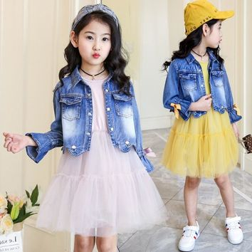 Trendy Children's clothing 2018 new girls spring denim clothes sets kids mesh dress suits personality suit baby child casual jackets AT_94_13