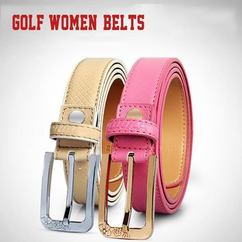 Women's Leather Golf Belt with Center Bar Buckle 23.5mm Wide 6 Colors