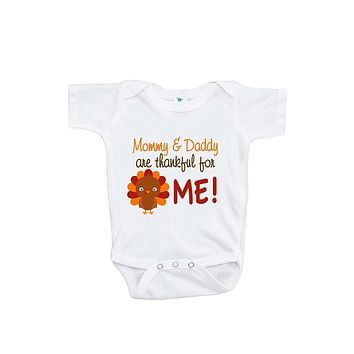 Custom Party Shop Unisex Baby Mommy & Daddy Are Thankful For Me Onepiece