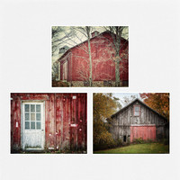 Rustic Red Barn Prints, Set of 3 Barn Pictures - Prints or Canvas Art Wrap, Crimson, Red, Grey, White - Country Decor, Farmhouse Decor.