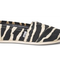 TOMS Zebra Hemp Vegan Women's Classics Slip-On Shoes,