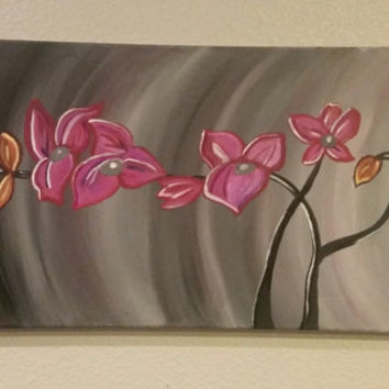 Wood framed hand painted canvas.. Flower painting