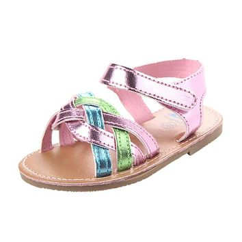 Girls Kids Casual Summer Beach Sandals Infant Weave Soft Soled Anti-Slip Shoes Flip Flops flat heels soft S3APR6