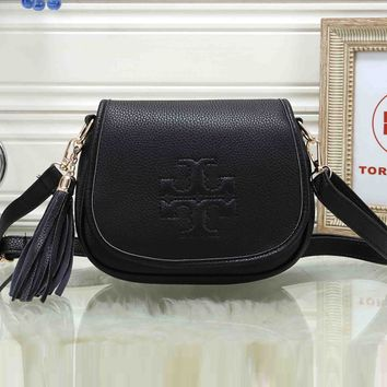 Tory Burch Popular Women Leather Pure Color Tassel Crossbody Satchel Shoulder Bag Black