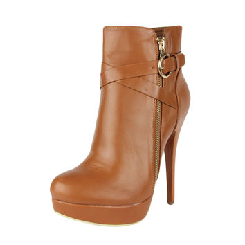 Womens Ankle Boots Strappy Buckle and Zipper Acce Sexy High Heels Tan SZ