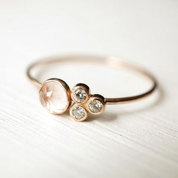 Rose Quartz Ring, Moissanite Ring, Multi Stone Ring, Engagement Ring, Dainty Gold Ring, 14k Gold Ring, Gift for her, Promise Ring, Stacking