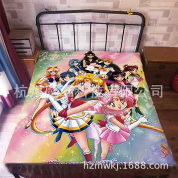 Japan Anime  sailor moon Flannel Blanket on Bed Mantas Bath Plush Towel Air Condition Sleep Cover bedding