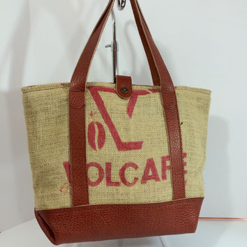 Upcycled Coffee Sack Leather Tote