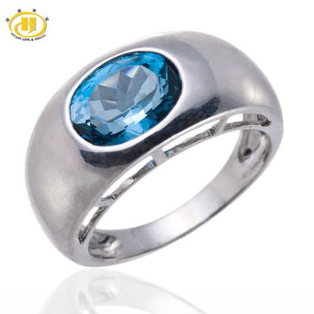 HUTANG NATURAL LONDON BLUE TOPAZ GEMSTONE RINGS SOLID 925 STERLING SILVER SOLITAIRE RING FINE JEWELRY