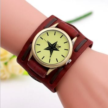 Vintage Quartz Wide belt braiding  Women Men Five pointed star watch (With Thanksgiving&Christmas Gift Box)