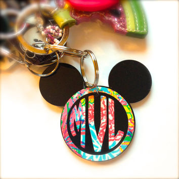 Lilly Pulitzer Inspired Mickey Mouse Monogram Keychain